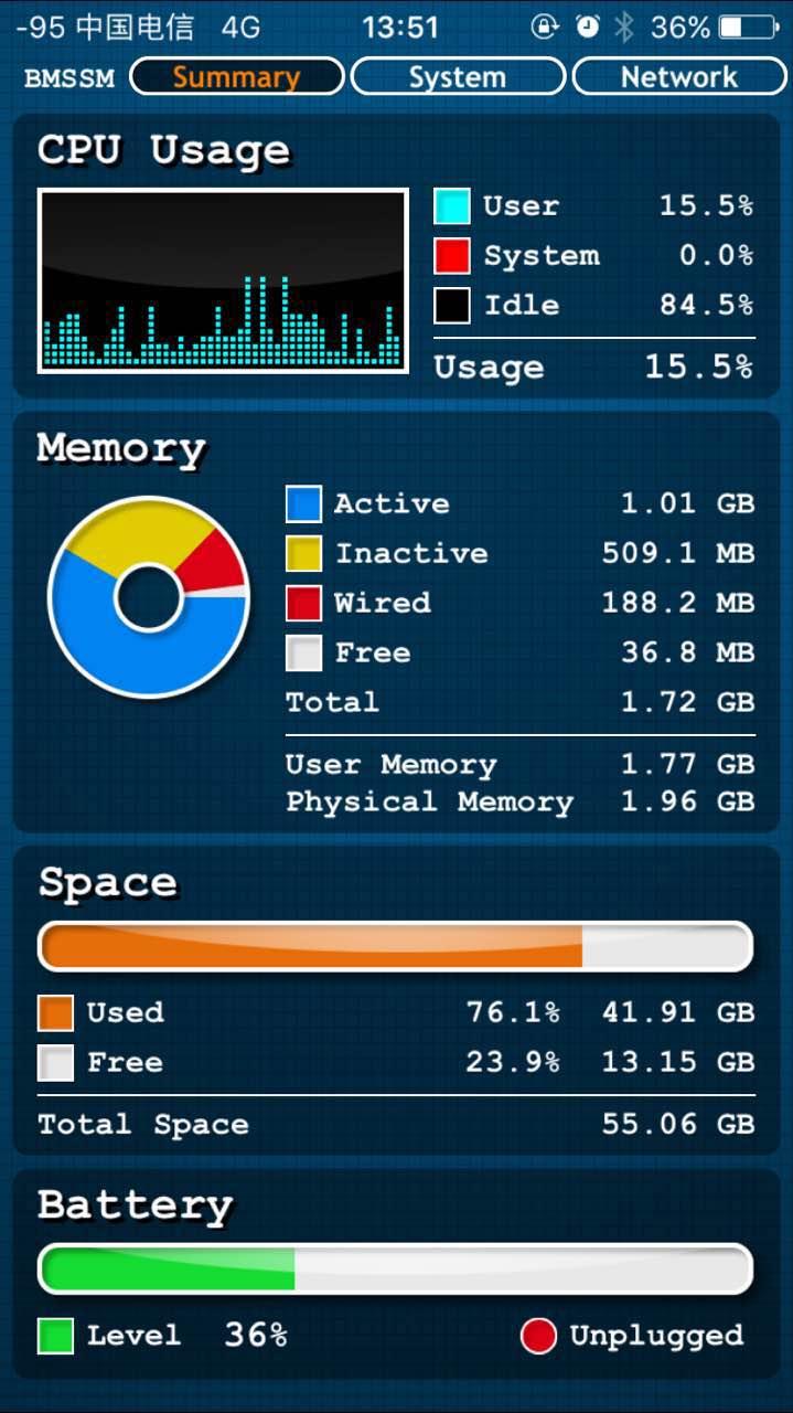 BMSSM - 一款查看 iPhone 实时 CPU 内存等信息的管理工具